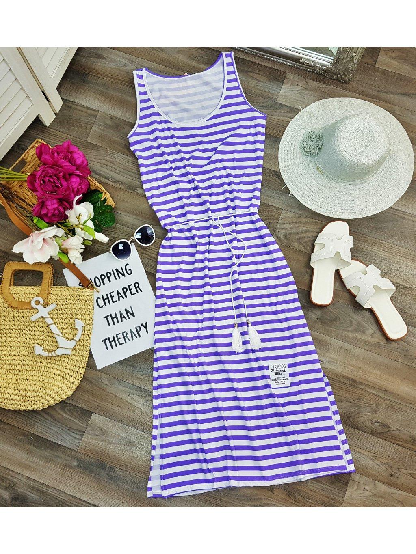 fialovo biele pásikavé midi šaty na leto