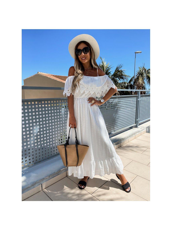 biele dlhé perforované šaty