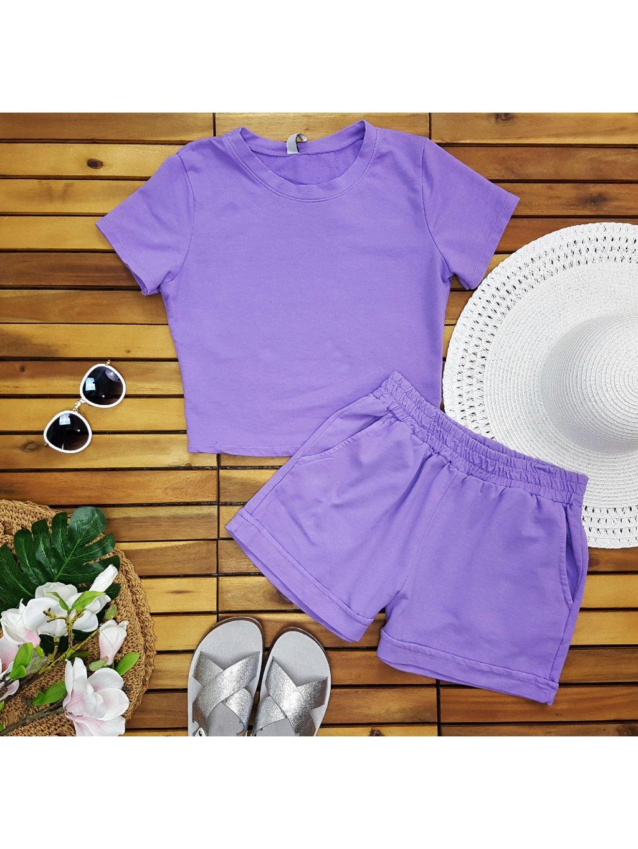 fialová súprava tričko + kraťasy šortky