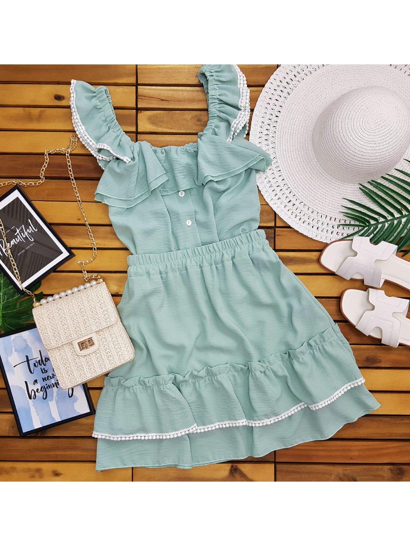zelená letná súprava blúzka a sukňa
