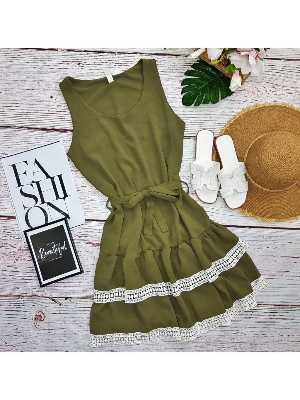 khaki zelené šaty s čipkou