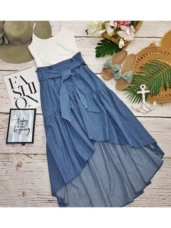 dlhá modrá pásikavá sukňa