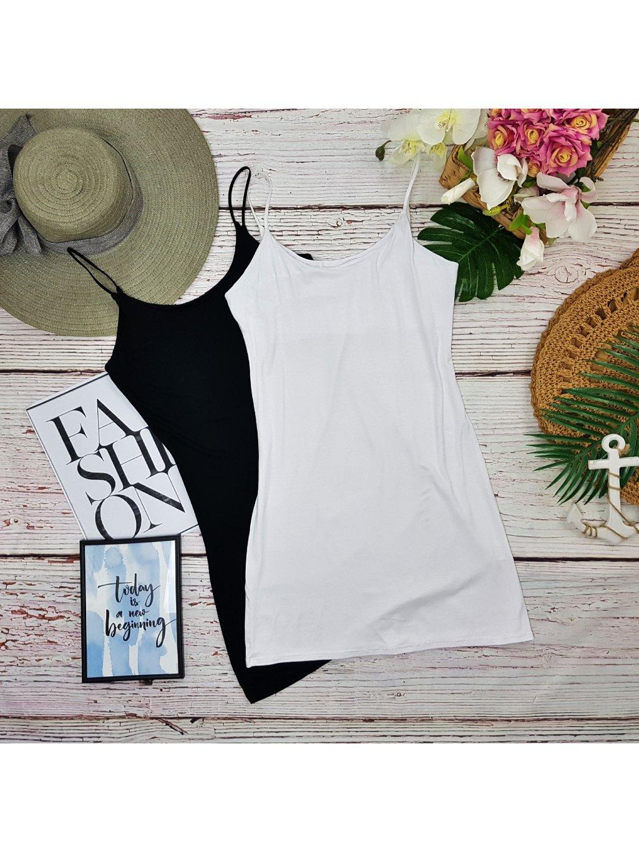 biele, čierne jednoduché šaty