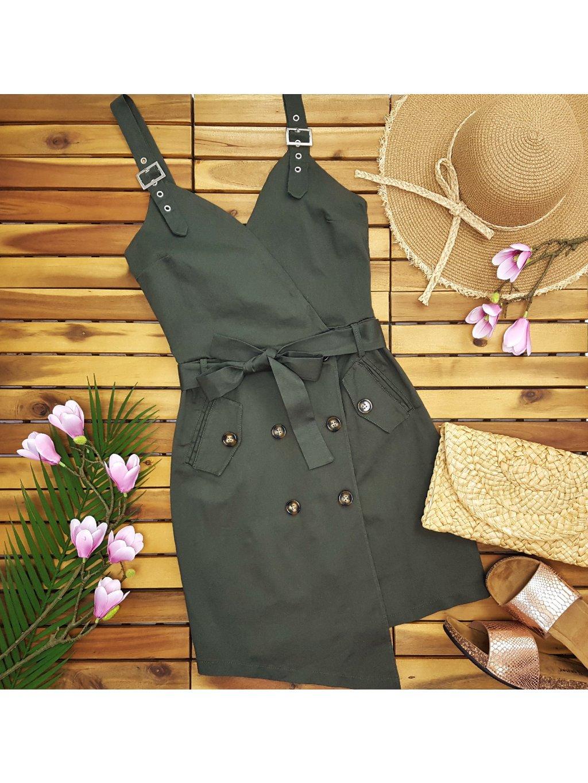 khaki zelené safari šaty