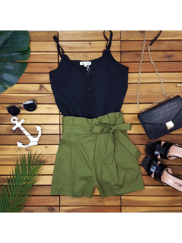 olivovo zelené šortky kraťasy krátke nohavice s vysokým pásom