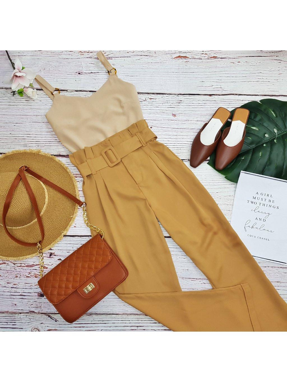 hnedé nohavice s vysokým pásom