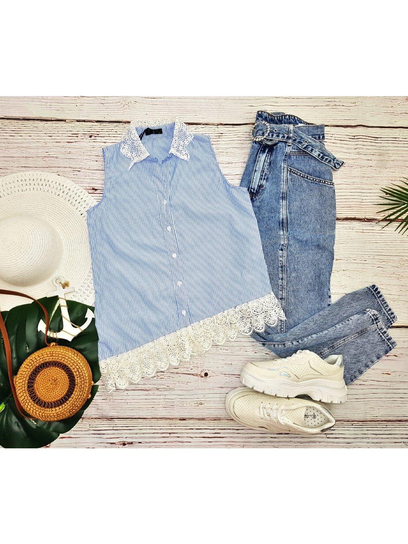 modrá pásikavá letná košeľa s čipkou krajkou