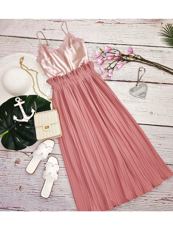 ružová plisovaná midi sukňa
