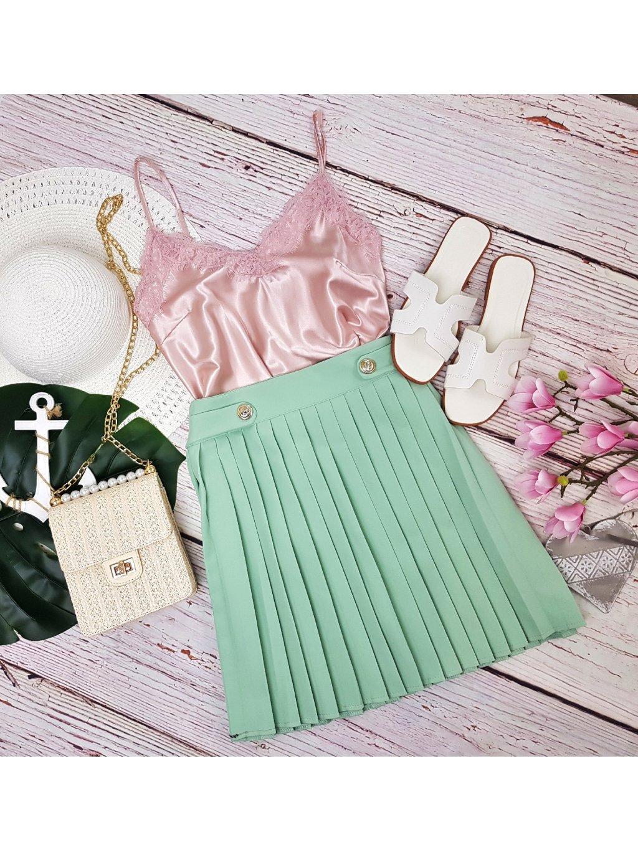 dámska zelená plisovaná sukňa