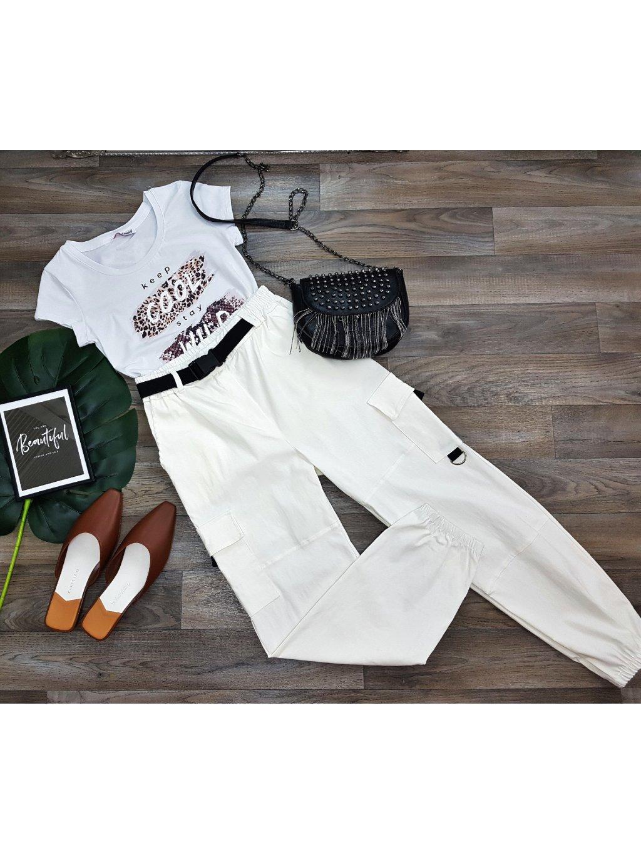 Nohavice Caps White