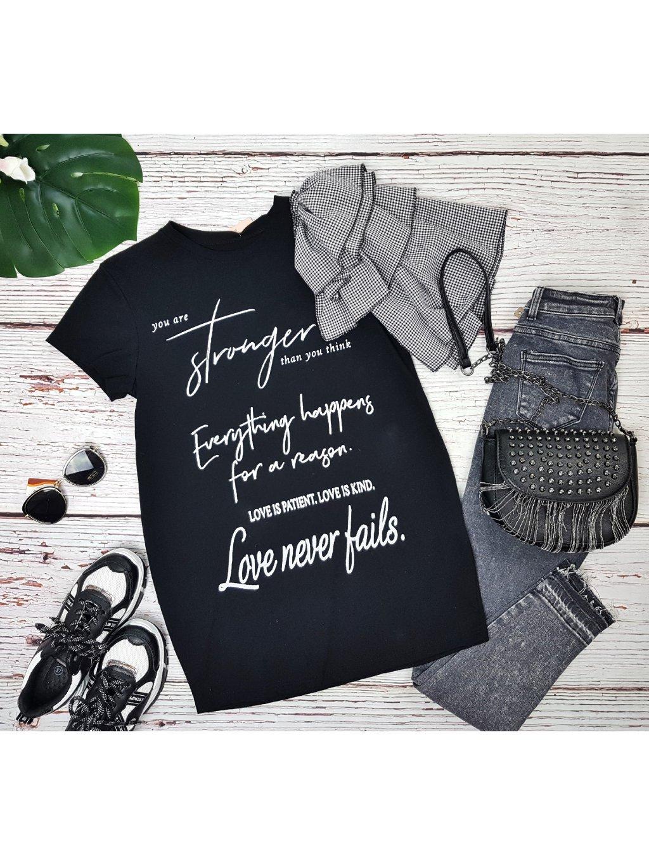 čierne tričko tunika s nápisom