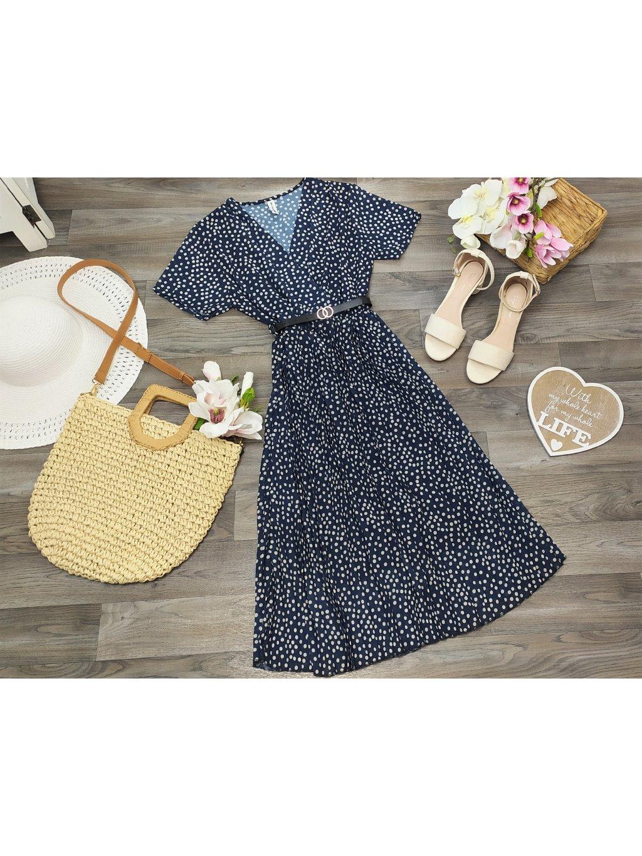 bodkované midi šaty s plisovanou sukňou
