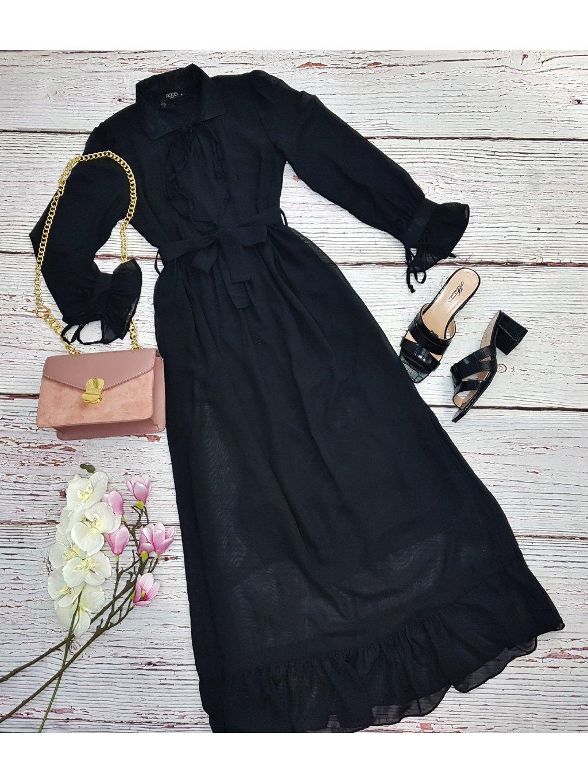 čierne dlhé šaty maxi
