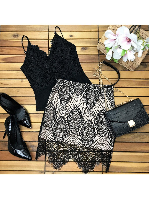 čierno béžová čipkovaná sukňa