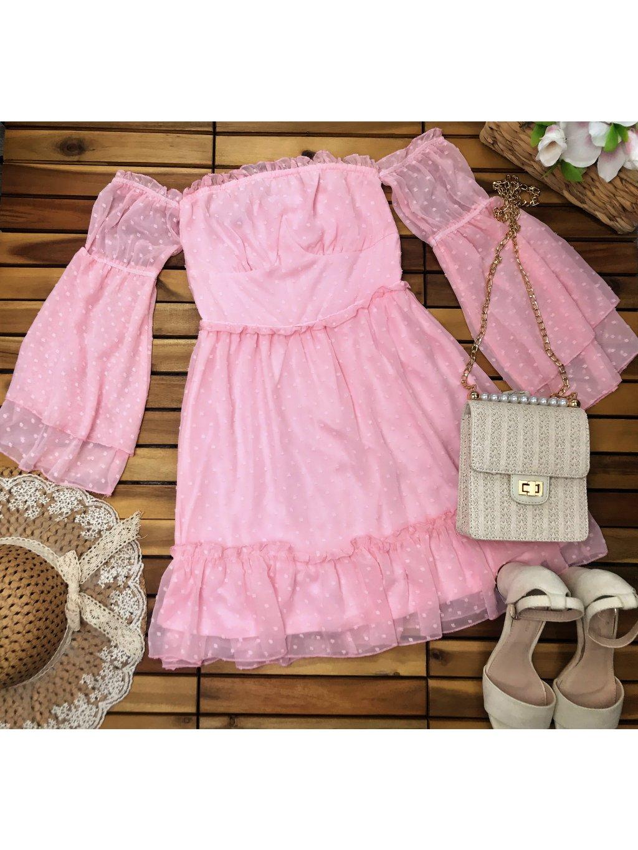 ružové romantické šifónové šaty
