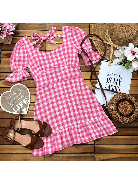 kockované dámske letné šaty