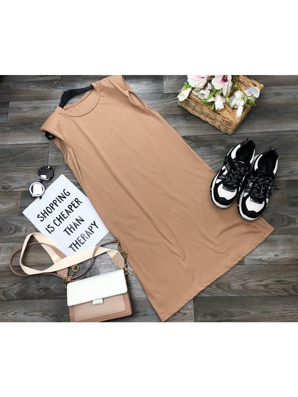 hnedé oversize šaty s vypchávkami cez ramena