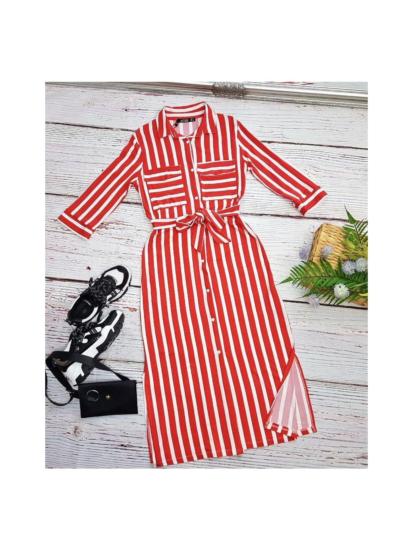 červené pásikavé midi šaty