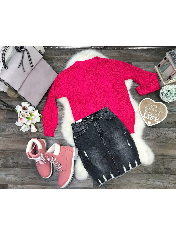 ružový pletený hrubý sveter