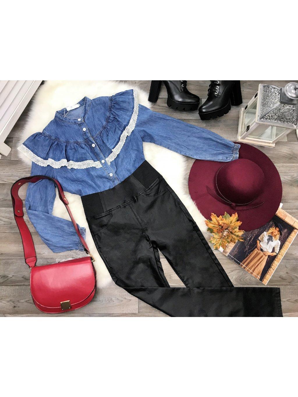 riflová košeľa s volánom a čipkou