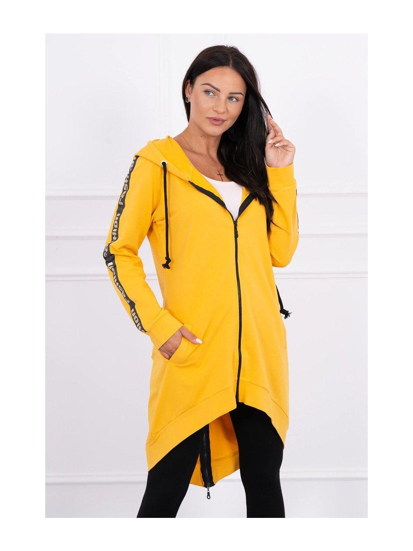 žltá predĺžená mikina na zips s kapucňou