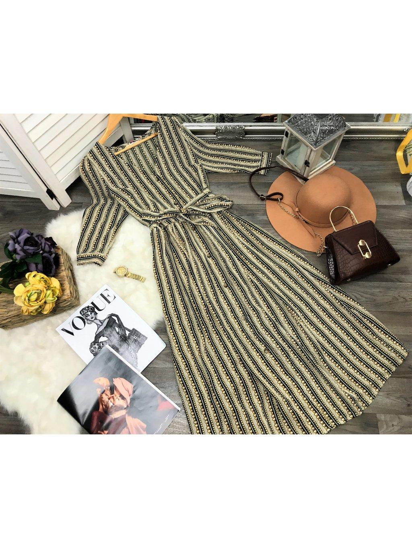 midi šaty vzorované pásikavé