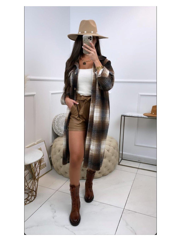 károvaná kockovaná dlhá maxi oversize košeľa kabát