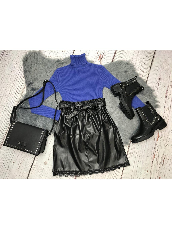čierna koženková sukňa s čipkou