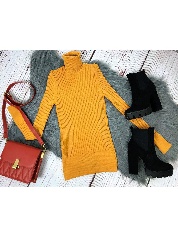 horčicovo žltý úpletový rolák svetrový