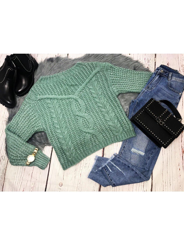 zelený pletený pulóver