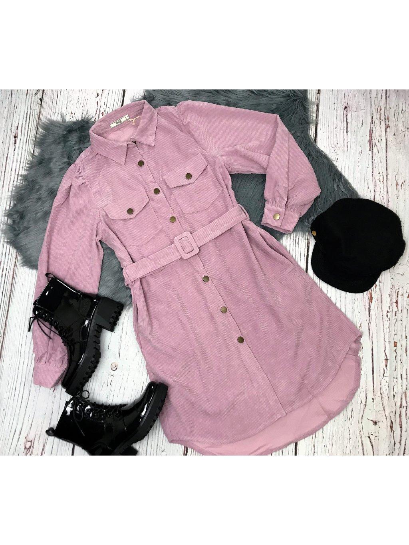 ružové menčestrové šaty na gombíky