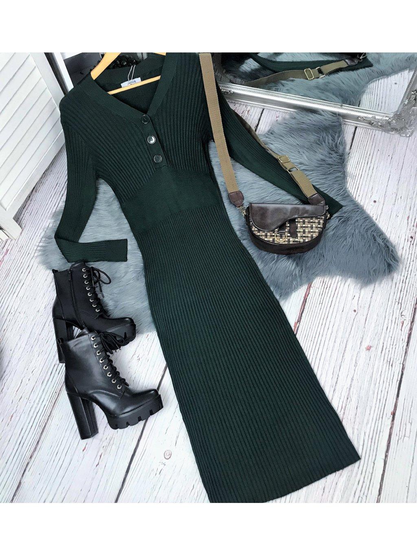 úpletové maxi šaty zelené