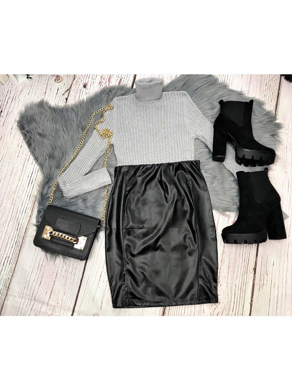 čierna sukňa koženkového vzhľadu