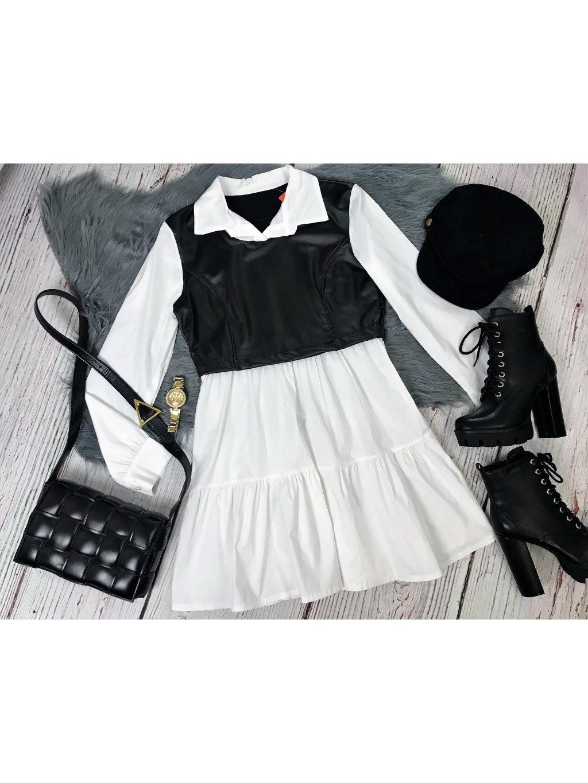 košeľové šaty s koženkovou aplikáciou