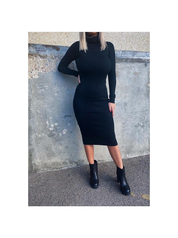 čierne úpletové midi šaty