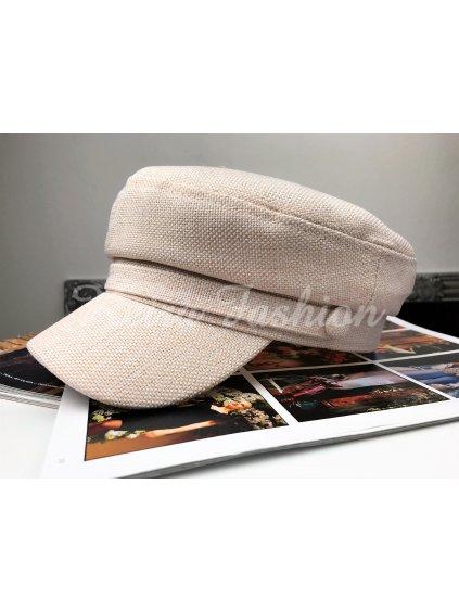 krémová čiapka so šiltom nude