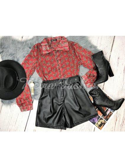 koženkové šortky s vysokým pásom