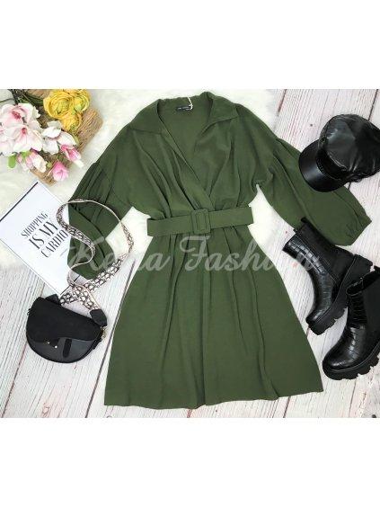 khakí zelené šaty s opaskom