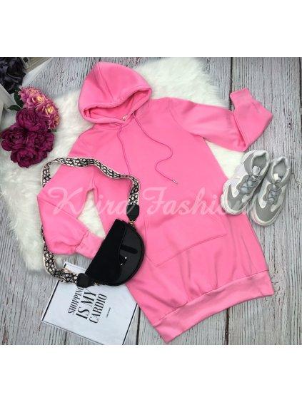 pink ružové mikinové šaty s kapucňou