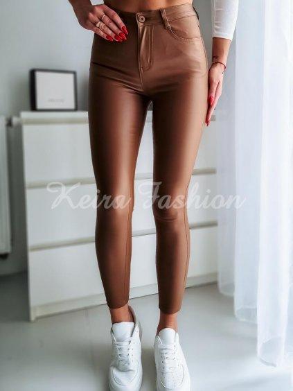 hnedé koženkové úzke nohavie