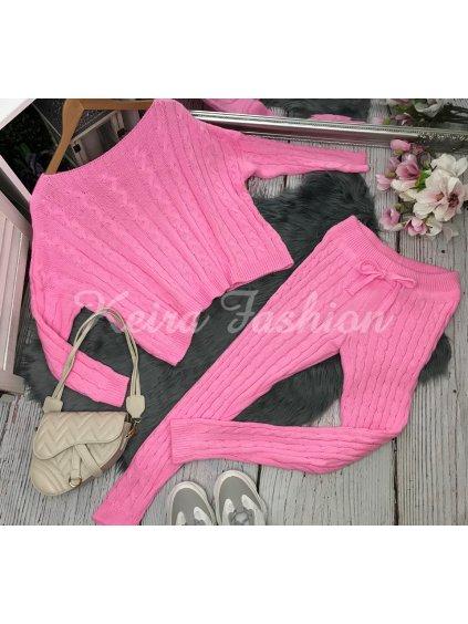 ružová pletená súprava
