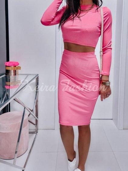 vrúbkovaný komplet ružový pink