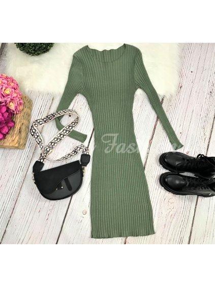 Šaty Ribbed Olive