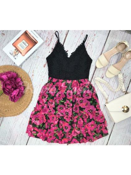 kvetinová ružová sukňa