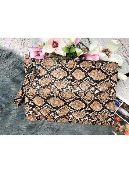 listová kabelka s hadím vzorom
