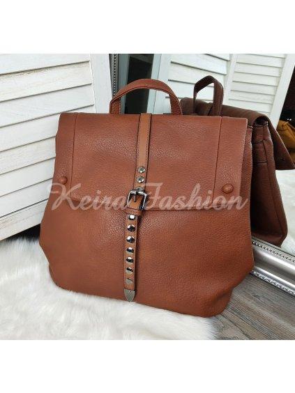 hnedý koženkový ruksak
