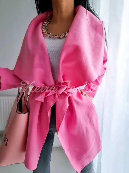 ružový flaušový kabát na viazanie