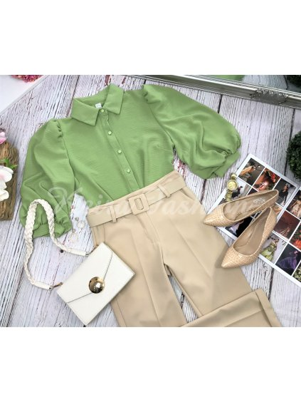 zelená blúzka s puf rukávmi