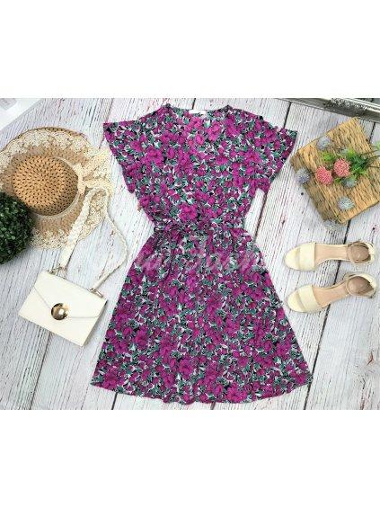 fialové kvetované šaty