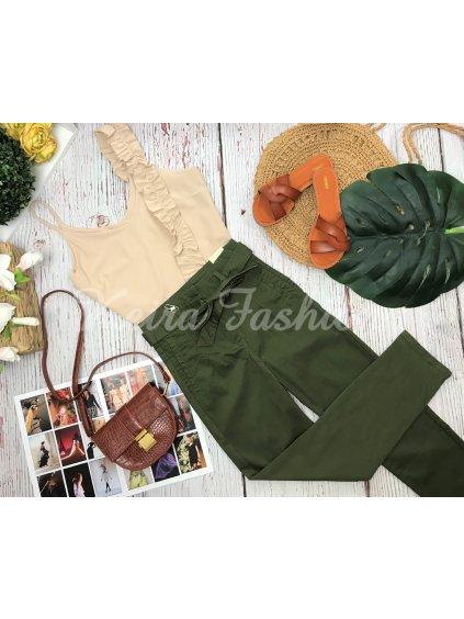 zelené nohavice s vysokým pásom